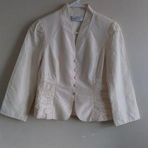 Womens Ivory Teri Jon Blazer 100% silk Size 4